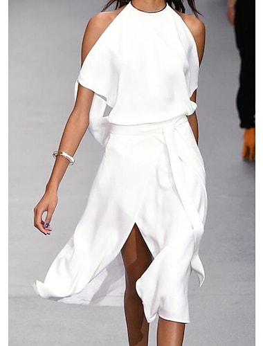 Women\'s A Line Dress Knee Length Dress Gray White Black Sleeveless Solid Color Split Spring Summer cold shoulder Elegant Casual Holiday Loose 2021 S M L XL XXL 3XL