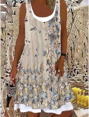 Mujer Vestido de una linea Vestido hasta la Rodilla Rosa Claro Bleu Ciel Verde 1 negro. Beige Sin Mangas Floral Estampado Floral Primavera Verano Escote Redondo Casual 2021 S M L XL XXL