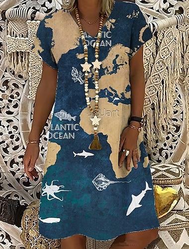 Women\'s T Shirt Dress Tee Dress Knee Length Dress Blue Short Sleeve Print Letter Print Spring Summer V Neck Casual Holiday 2021 S M L XL XXL 3XL