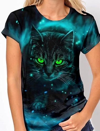 Dámské 3D kočka Tričko Kočka Zvíře Tisk Kulatý Základní Topy Námořnická modř