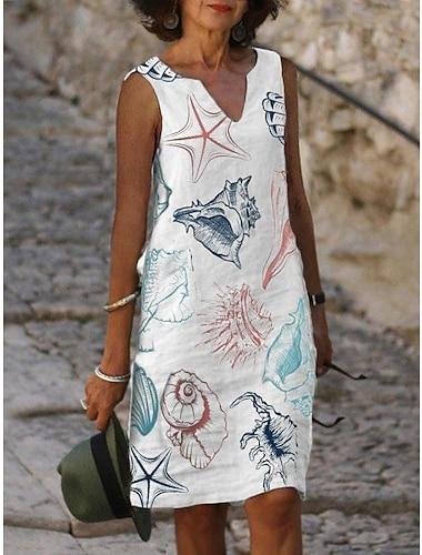 Γυναικεία Φόρεμα σε γραμμή Α Φόρεμα μέχρι το γόνατο Πράσινο του τριφυλλιού Λευκό Ρουμπίνι Αμάνικο Φλοράλ Στάμπα Στάμπα Καλοκαίρι Λαιμόκοψη V Κομψό Καθημερινό Φαρδιά 2021 Τ M L XL XXL 3XL 4XL