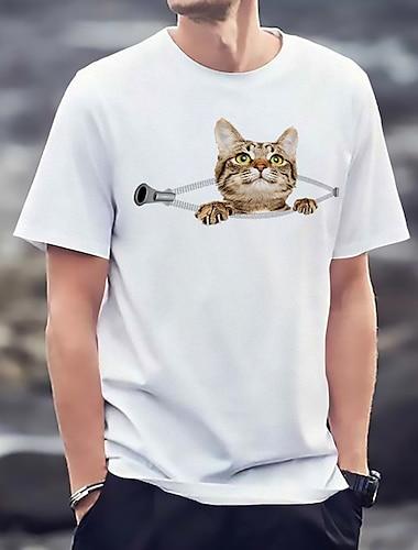 Tee T-shirt Homme Unisexe Estampage a chaud Chat Imprimes Photos Grandes Tailles Imprime Manches Courtes Decontracte Quotidien Standard Viscose basique Mode Designer Col Rond / Ete