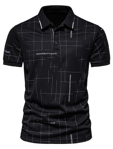 Miesten Golfpaita T-paita Kirjain Painike alas Lyhythihainen Katu Topit Liiketoiminta Vapaa-aika minimalistisesta Mukava Valkoinen Musta