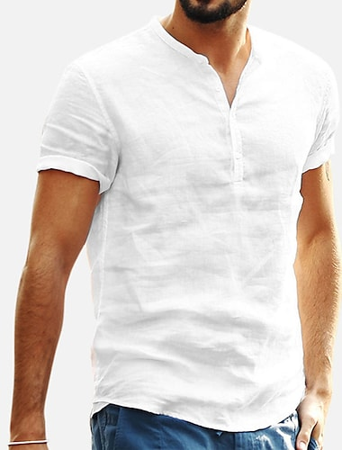 Homens Camisa Social Cor Solida Botao para baixo Manga Curta Casual Blusas Leve Casual Moda Respiravel Colarinho Clerical Caqui Branco Preto