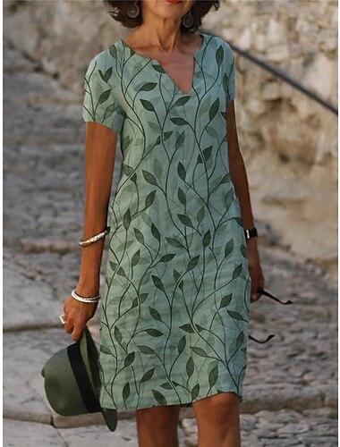 Női Váltó ruha Térdig érő ruha Lóhere Rövid ujjú Nyomtatott Nyomtatott Tavasz Nyár V-alakú Alkalmi / Napi 2021 S M L XL XXL XXXL / Bő