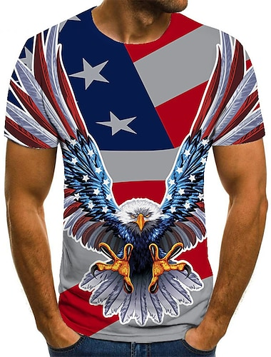 Men\'s Unisex Tee T shirt Shirt 3D Print Graphic Prints Eagle Plus Size Print Short Sleeve Casual Tops Basic Fashion Designer Big and Tall Round Neck Gray