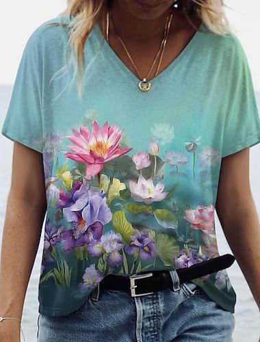Dámské Květinový motiv 3D Obraz Tričko Květinový 3D Květiny Tisk Do V Základní Topy Trávová zelená