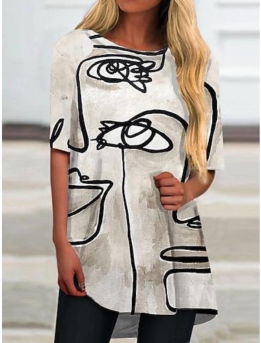Dámské Tričkové šaty Krátké mini šaty Šedá Poloviční rukáv Tisk Tisk Jaro Léto Kulatý Na běžné nošení Dovolená 2021 S M L XL XXL 3XL