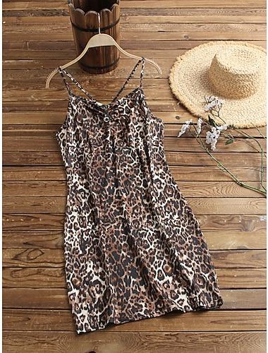 Women\'s Leopard Graphic Prints Snake Print Backless Criss Cross Print V Neck Basic Tops Dark Gray Black Light Brown