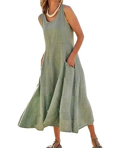 Γυναικεία Φόρεμα ριχτό από τη μέση και κάτω Φόρεμα μέχρι το γόνατο Ταμπά Σκούρο πράσινο Αμάνικο Συμπαγές Χρώμα Άνοιξη Καλοκαίρι Καθημερινά 2021 Τ M L XL XXL XXXL