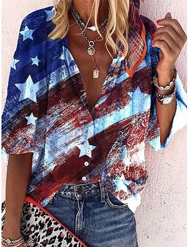 여성용 블라우스 셔츠 국기 프린트 셔츠 카라 탑스 네이비 블루
