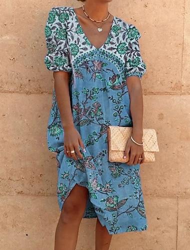 Γυναικεία Κοντομάνικο φόρεμα Φόρεμα μέχρι το γόνατο Θαλασσί Κίτρινο Γκρίζο Πορτοκαλί Κοντομάνικο Συμπαγές Χρώμα Άνοιξη Καλοκαίρι 2021 M L XL 2XL 3XL
