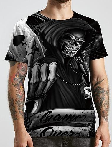 Pánské Unisex Trička Tričko Košile 3D tisk Grafické tisky Lebky Větší velikosti Tisk Krátký rukáv Ležérní Topy Základní Designové Velký a vysoký Kulatý Černá / Léto