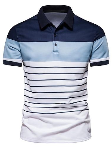 בגדי ריקוד גברים חולצת גולף חולצת טניס פסים שרוולים קצרים קזו\'אל צמרות אופנתי שחור כחול נייבי