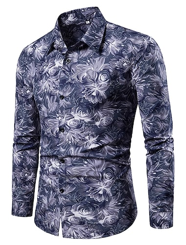 Herr Skjorta Blommig Grafisk Färgblock Lappverk Tryck Långärmad Tillfällig Blast Enkel Lättvikt Grundläggande Mode Blå Svart