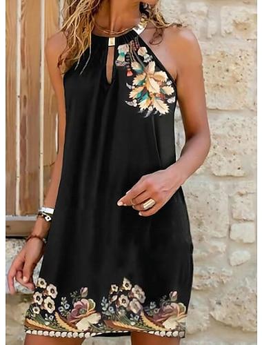 Γυναικεία Φόρεμα ριχτό Μίνι φόρεμα Μαύρο Αμάνικο Φλοράλ Μοτίβο Κρύος ώμος Στάμπα Καλοκαίρι Δένει στο Λαιμό καυτό Καθημερινό Σέξι 2021 Τ M L XL / Αργίες