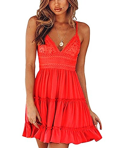women's spaghetti strap v neck swing mini dress sleeveles solid lace patchwork short dress red