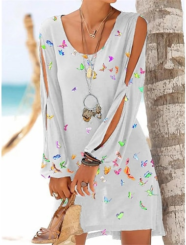 Women\'s Shift Dress Short Mini Dress Blushing Pink Wine Green White Black Navy Blue Long Sleeve Animal Print Spring Summer Round Neck Casual Holiday Loose 2021 S M L XL XXL 3XL