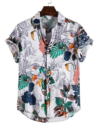 Pánské Košile Květinový Lístky Zvíře Tlačítko dolů Krátký rukáv Ležérní Topy Bavlna Na běžné nošení Módní Havajské Pohodlné Bílá