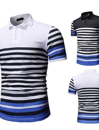 Hombre Camiseta de golf A Rayas Grafico Manga Corta Diario Tops Sencillo Moda Comodo Blanco Negro / Deportes / Verano