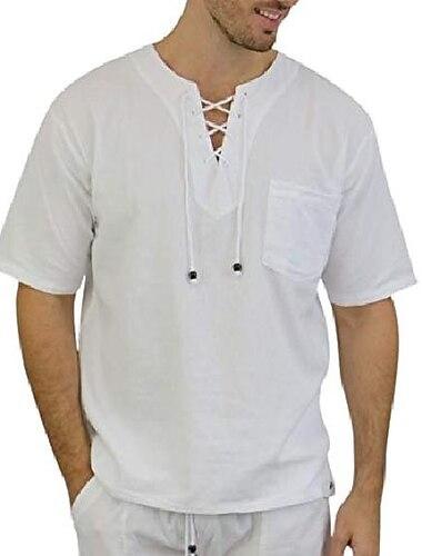 herr vit skjorta 100% bomull casual hippie skjorta långärmad beach yoga topp