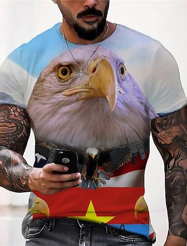 Men\'s Tee T shirt Shirt 3D Print Graphic Prints Eagle American Flag National Flag Print Short Sleeve Daily Tops Casual Designer Big and Tall Gray / Summer