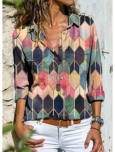 여성용 기하학 적 블라우스 셔츠 컬러 블럭 기하학 긴 소매 단추 프린트 셔츠 카라 베이직 스트리트 쉬크 탑스 푸른 옐로우 블러슁 핑크