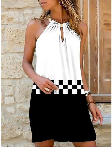 Γυναικεία Φόρεμα με λεπτή τιράντα Μίνι φόρεμα Λευκό Μαύρο Αμάνικο Καρό Γεωμετρικό Στάμπα Καλοκαίρι Δένει στο Λαιμό Καθημερινό Αργίες 2021 Τ M L XL XXL 3XL