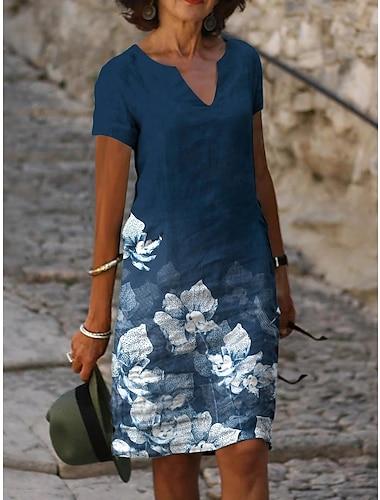 Mujer Vestido de una linea Vestido hasta la Rodilla Azul Piscina Manga Corta Floral Estampado Primavera Verano Escote en Pico Casual 2021 S M L XL XXL 3XL