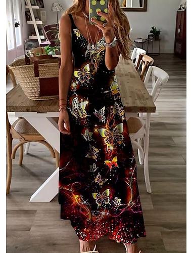 Women\'s A Line Dress Maxi long Dress Black Sleeveless Butterfly Animal Print Summer V Neck Casual Holiday 2021 S M L XL XXL 3XL