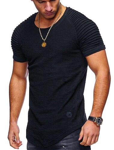 Мужская футболка, базовая повседневная футболка с короткими рукавами, бодибилдинг, мышцы, фитнес, тренажерный зал, тренировочные футболки