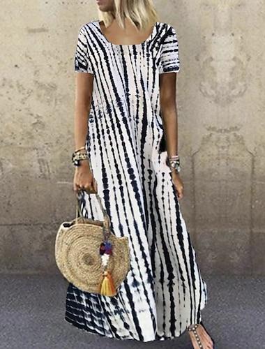 Γυναικεία Φόρεμα ριχτό από τη μέση και κάτω Μακρύ φόρεμα Θαλασσί Βυσσινί Κίτρινο Γκρίζο Πράσινο του τριφυλλιού Λευκό Μαύρο Ρουμπίνι Κοντομάνικο Στάμπα Στάμπα Άνοιξη Καλοκαίρι Στρογγυλή Λαιμόκοψη