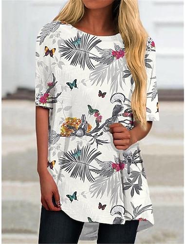 Dámské Tričkové šaty Krátké mini šaty Bílá Poloviční rukáv Květinový Tisk Tisk Jaro Léto Kulatý Na běžné nošení Dovolená 2021 S M L XL XXL 3XL