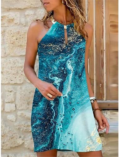 Γυναικεία Φόρεμα ριχτό Μίνι φόρεμα Θαλασσί Βυσσινί Αμάνικο Διαβάθμιση χρώματος Στάμπα Καλοκαίρι Δένει στο Λαιμό Στυλάτο Καθημερινό Αργίες 2021 Τ M L XL XXL 3XL