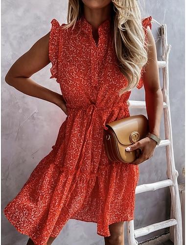 Women\'s Shift Dress Short Mini Dress Blue Red Sleeveless Print Spring Summer Work Casual 2021 S M L XL 2XL / Cotton / Cotton