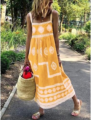 Γυναικεία Φόρεμα με λεπτή τιράντα Μίντι φόρεμα Βυσσινί Κίτρινο Γκρίζο Πράσινο του τριφυλλιού Ρουμπίνι Αμάνικο Γεωμετρικό Σουρωτά Κουρελού Άνοιξη Καλοκαίρι Τετράγωνη Λαιμόκοψη / Παραλία