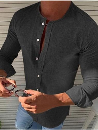 Homens Camisa Social Solido Botao para baixo Manga Longa Casual Blusas Casual Moda Respiravel Confortavel Decote Redondo Azul Cinzento Caqui