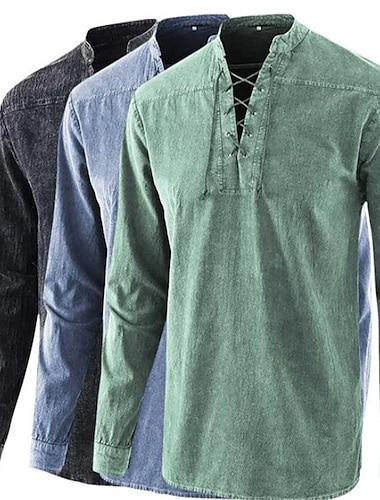 Per uomo Camicia Tinta unita A cordoncino Manica lunga Casuale Top Cotone Casuale Di tendenza Traspirante Comodo Colletto Mao Blu Vino Grigio