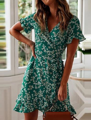 Women\'s Wrap Dress Short Mini Dress Green Navy Blue Short Sleeve Floral Ruffle Summer V Neck Stylish Hot Holiday 2021 S M L XL XXL