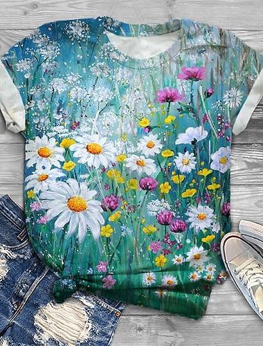 여성용 플러스 크기 탑스 T 셔츠 그래픽 데이지 프린트 짧은 소매 크루 넥 베이직 여름 푸른 큰 사이즈 XL XXL 3XL 4XL 5XL / 플러스 사이즈