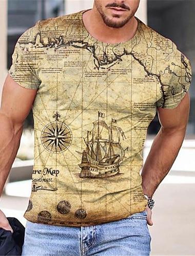 Ανδρικά Κοντομάνικα Μπλουζάκι 3D εκτύπωση Χάρτης Γραφικά Σχέδια Στάμπα Κοντομάνικο Καθημερινά Άριστος Καθημερινό Υψηλής Ποιότητας Μεγάλο και ψηλό Στρογγυλή Λαιμόκοψη Θαλασσί Κίτρινο Μαύρο / Καλοκαίρι