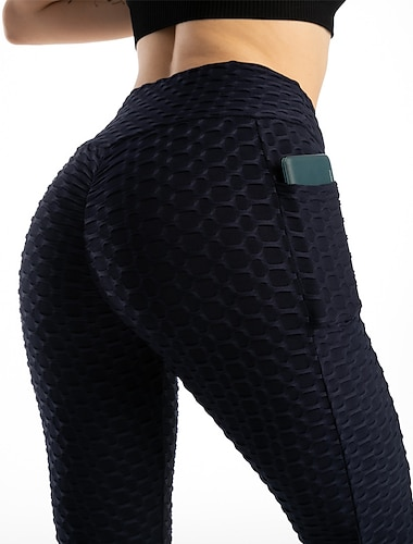 Women\'s High Waist Yoga Pants Scrunch Butt Side Pockets Tights Leggings Bottoms Tummy Control Butt Lift Quick Dry Solid Color Red Light Green Dark Red Spandex Yoga Fitness Gym Workout Winter Summer