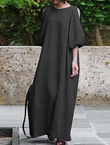 Γυναικεία Κοντομάνικο φόρεμα Μακρύ φόρεμα Βυσσινί Χακί Μαύρο Κοντομάνικο Συμπαγές Χρώμα Άνοιξη Καλοκαίρι Καθημερινό 2021 Τ M L XL XXL XXXL 4XL 5XL