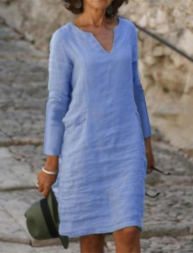 Női Váltó ruha Térdig érő ruha Sárga Arcpír rózsaszín Lóhere Világoskék Háromnegyedes Tömör szín Ősz Tavasz V-alakú Alkalmi 2021 S M L XL XXL 3XL 4XL 5XL / Extra méret / Extra méret