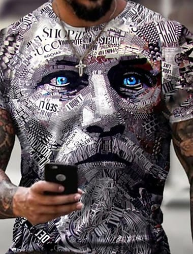 Ανδρικά Κοντομάνικα Μπλουζάκι Πουκάμισο 3D εκτύπωση Γραφική Ανθρώπινο πρόσωπο Μεγάλα Μεγέθη Κοντομάνικο Causal Άριστος Βασικό Υψηλής Ποιότητας Στενή Εφαρμογή Μεγάλο και ψηλό / Καλοκαίρι