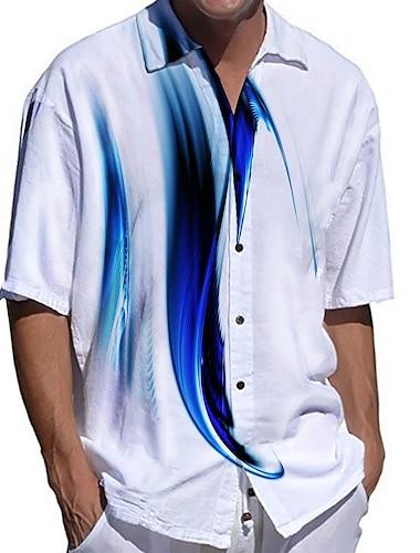 Herr Skjorta 3D-tryck Linjär Plusstorlekar 3D-utskrift Button-Down Kortärmad Tillfällig Blast Ledigt Mode Andningsfunktion Bekväm Blå / Sport