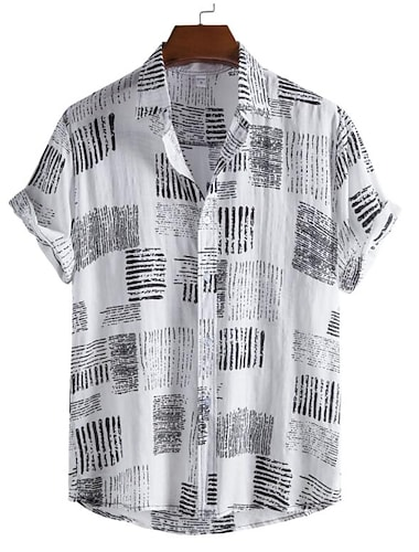Men\'s Shirt Graphic Prints Button-Down Short Sleeve Casual Tops 100% Cotton Lightweight Casual Fashion Breathable White Black / Stand Collar