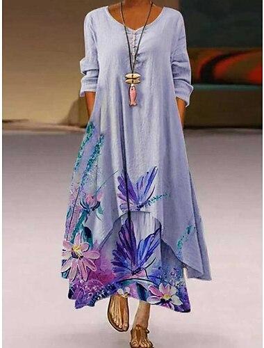 Női A vonalú ruha Maxi hosszú ruha Fotó színe Hosszú ujj Minta Nyár Alkalmi 2021 S M L XL XXL XXXL 4 XL 5 XL