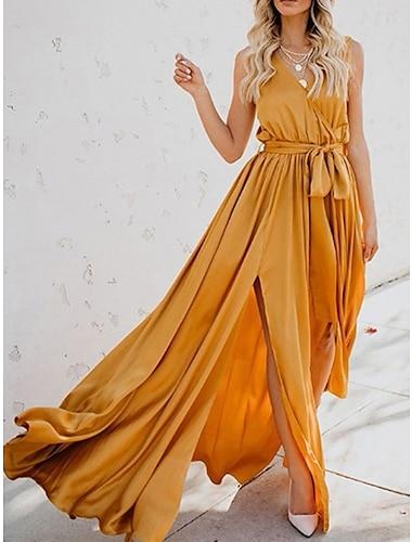 Γυναικεία Φόρεμα ριχτό από τη μέση και κάτω Μακρύ φόρεμα Κίτρινο Ανθισμένο Ροζ Πράσινο του τριφυλλιού Αμάνικο Συμπαγές Χρώμα Άνοιξη Καλοκαίρι Καθημερινό 2021 Τ M L XL XXL