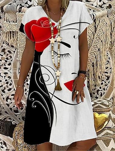 Női Pólóruha Térdig érő ruha Rubin Rövid ujjú Virágos Absztrakt Nyomtatott Tavasz Nyár V-alakú Alkalmi Szabadság 2021 S M L XL XXL 3XL